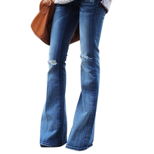купить Echoine high waist jeans Women High-elastic denim flared pants female autumn winter black ripped boyfriend plus size ladies jean по цене 1215.35 рублей