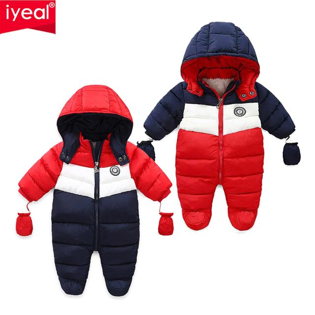 IYEAL nowonarodzone dziecko Snowsuit dzieci niemowlę zimowy płaszcz ciepła podszewka z kapturem kombinezon z suwakiem chłopcy dziewczęta kaczka dłuższa odzież wierzchnia kombinezony tanie i dobre opinie Elastan COTTON Patchwork Unisex zipper Pajacyki Pełna IYEAL19100503 Cotton + Fleece Pasuje prawda na wymiar weź swój normalny rozmiar