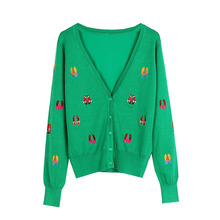 Shuchan Embroidery Shoes Cute Knit Sweater Women Korean Fashion Cardigans Casual V-Neck Womens with A Pattern