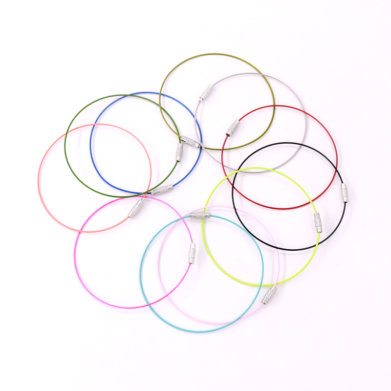 Image 2 - 100pcs Stain steel wire 9inch Keychain ring key keyring circle rope cable loop For DIY Jewelry Findings Bangle Bracelet MakingJewelry Findings & Components   -