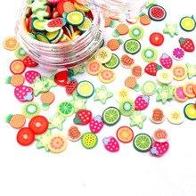1000 шт. кусочки фруктов фимо талисманы для детей Lizun DIY Поставки полимерная прозрачная глина разбрызгивает шпатлевка для маникюра и рукоделия украшения игрушки