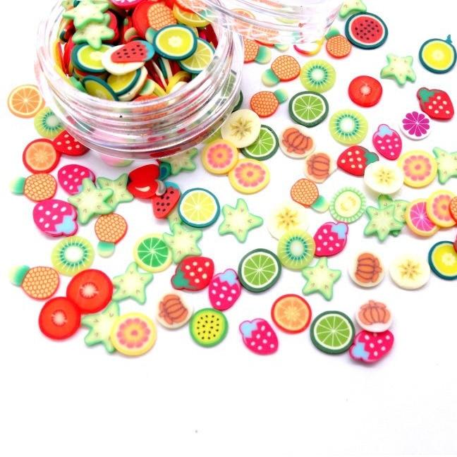 1000 stücke Obst Scheiben Charms Für Kinder Lizun DIY Liefert Polymer Klaren Ton Streusel Kitt Nail art Handwerk Dekoration Spielzeug
