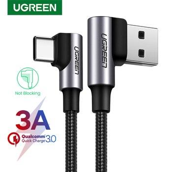 Câble USB C en Nylon Ugreen chargeur rapide à 90 degrés câble USB de Type C pour Xiaomi Mi 8 Samsung Galaxy S9 Plus cordon de USB-C pour téléphone portable