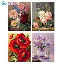 GATYZTORY DIY pintura por números flores lienzo figura para dibujar pintura al óleo decoración para el hogar pintada a mano regalo