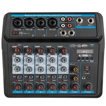 M-6 Portable Mini Mixer o DJ Console with Sound Card, USB, 48V Phantom Power for PC Recording Singing Webcast Party(US Plug)