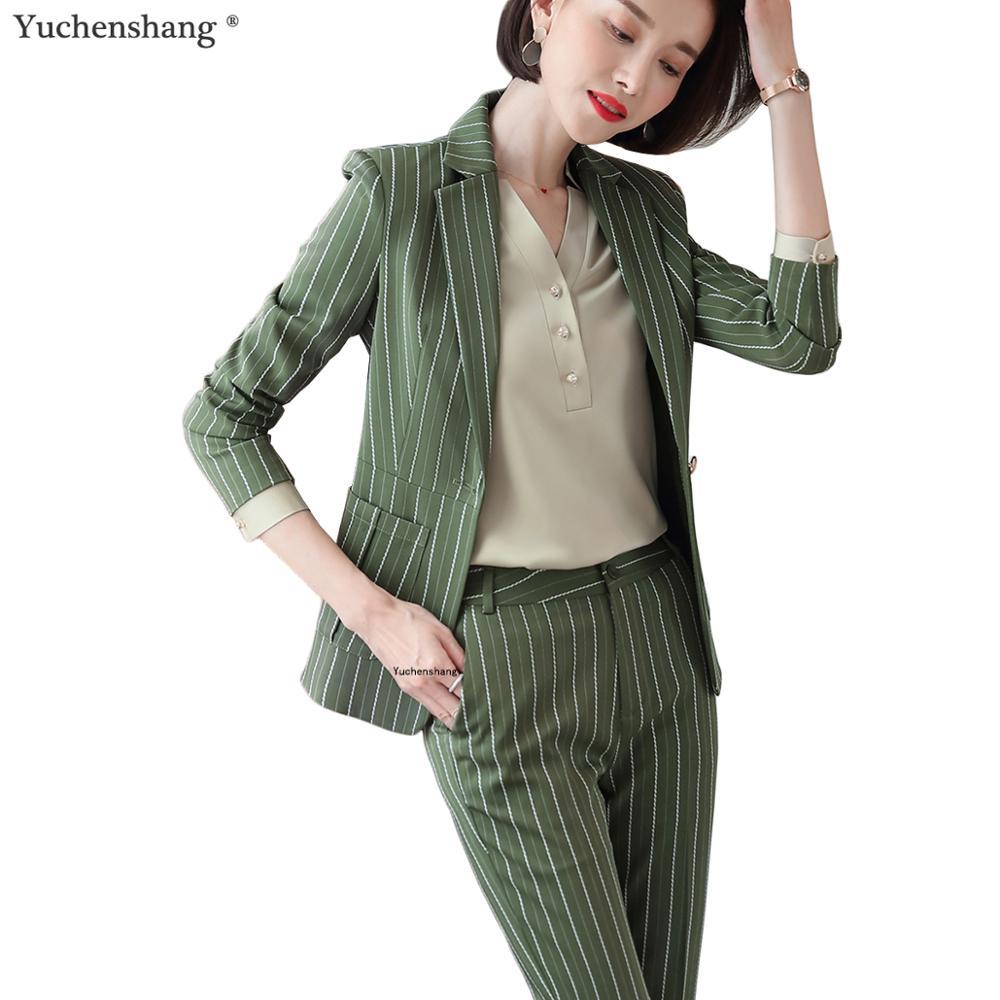 Fashion Women Casual Pant Suit Largest Size 5XL Green Pink Striped Suit Jackets And Pant 2 Piece Sets Suits