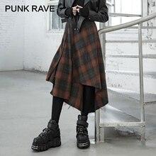 PUNK RAVE Girl's Punk Style Irregular Red Plaid Mid-length Skirt Autumn Winter High Waist Asymmetry Women Skirt Streetwear