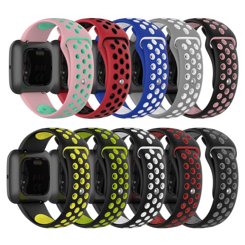 1pc Silicone Bracelet Round Hole No Split Wrist Strap Replacement Sport Band Smart Watch For Fitbit Versa 2/lite/class Series