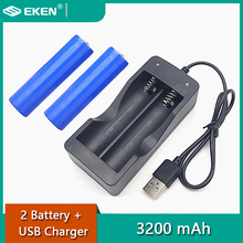 Original EKEN 2 pieces 18650 battery 3200mAh and USB battery charger