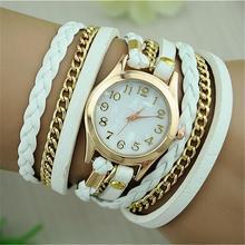 New Fashion Band Wrap Women Bracelet Quartz Wrist Watch Female Alloy PU leather Retro Vintage Colorful
