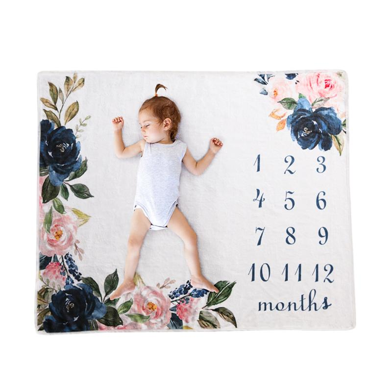1pc Baby Monthly Milestone Blanket Photography Prop Flannel Blanket Backdrop Cloth Calendar Take Pictures As Props