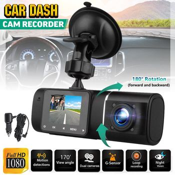 1.5 Inch LCD Screen 1080P Dual Wide Angle Lens Car DVR Dash Cam IR Night Vision Front & Inside Camera HD Video Recorder image