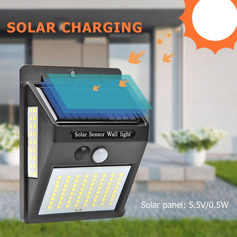 100 LED Solar Light Outdoor PIR Motion Sensor Wall Light Waterproof Solar Powered Lamp Sunlight For Garden Decoration