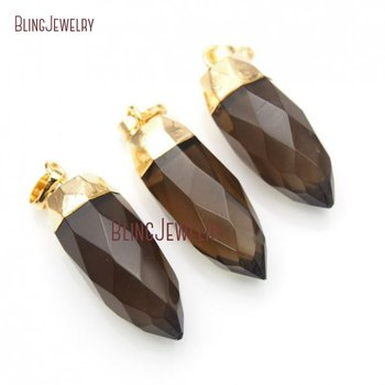 Faceted Healing Crystal Smoky Quartzs Pendant Gold Gunblack Dipped Trim Crystal Point Pendant PM16141