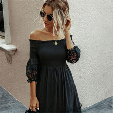 Off Shoulder Dress Women Sexy Backless Ruched Dresses Party Night Ladies Black Lace Fitted Clothing Elegant Autumn Women Dress