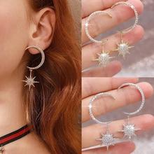 New Fashion Temperament Moon Zircon Earrings Flash Octagonal Star Pendant Creative Personality Exquisite Wild D20