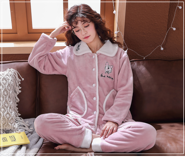 Plus Size 3XL 4XL 5XL Pajamas for women 2019 Winter Thicken Flannel pyjamas Long-sleeve lovely Sleepwear Coral Fleece Nightgowns 154