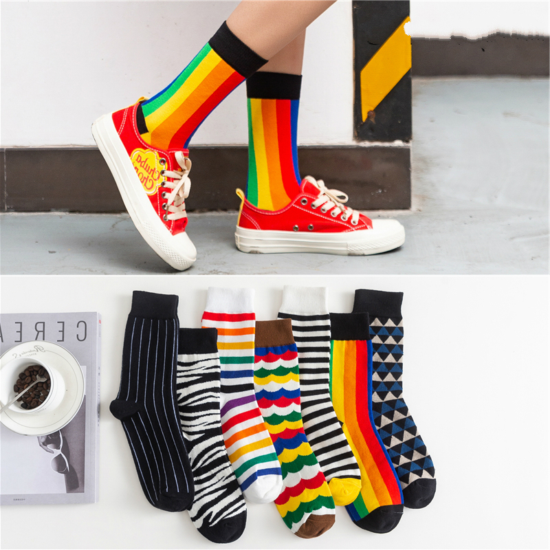 Happy Socks Funny Art Dress Socks Color Lot Men's Summer Fashion Socks Rainbow Set Print Colorful Stripes Art Socks Cute Fashion