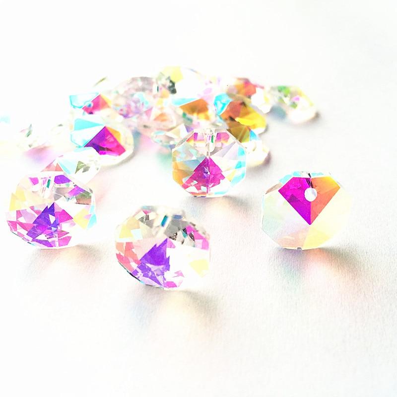 Высокое качество 20 шт./лот многоцветный 14 мм хрустальные Восьмиугольные бусины в одном отверстии K9 кристаллы части для люстры аксессуары DIY Свадебные и x-дерево украшения - Цвет: AB