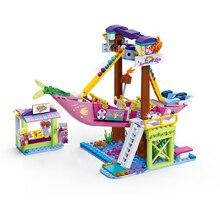 Funny City Amusement Park Rides Legoingly Building Block Ferris Wheel Bumper Car Electric Machine Bricks Model Figures Girls Toy