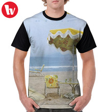 Neil Young T Shirt Neil Young Di Pantai T-shirt Polyester Pria Tee Shirt Cetak Kasual Grafis Tshirt(China)