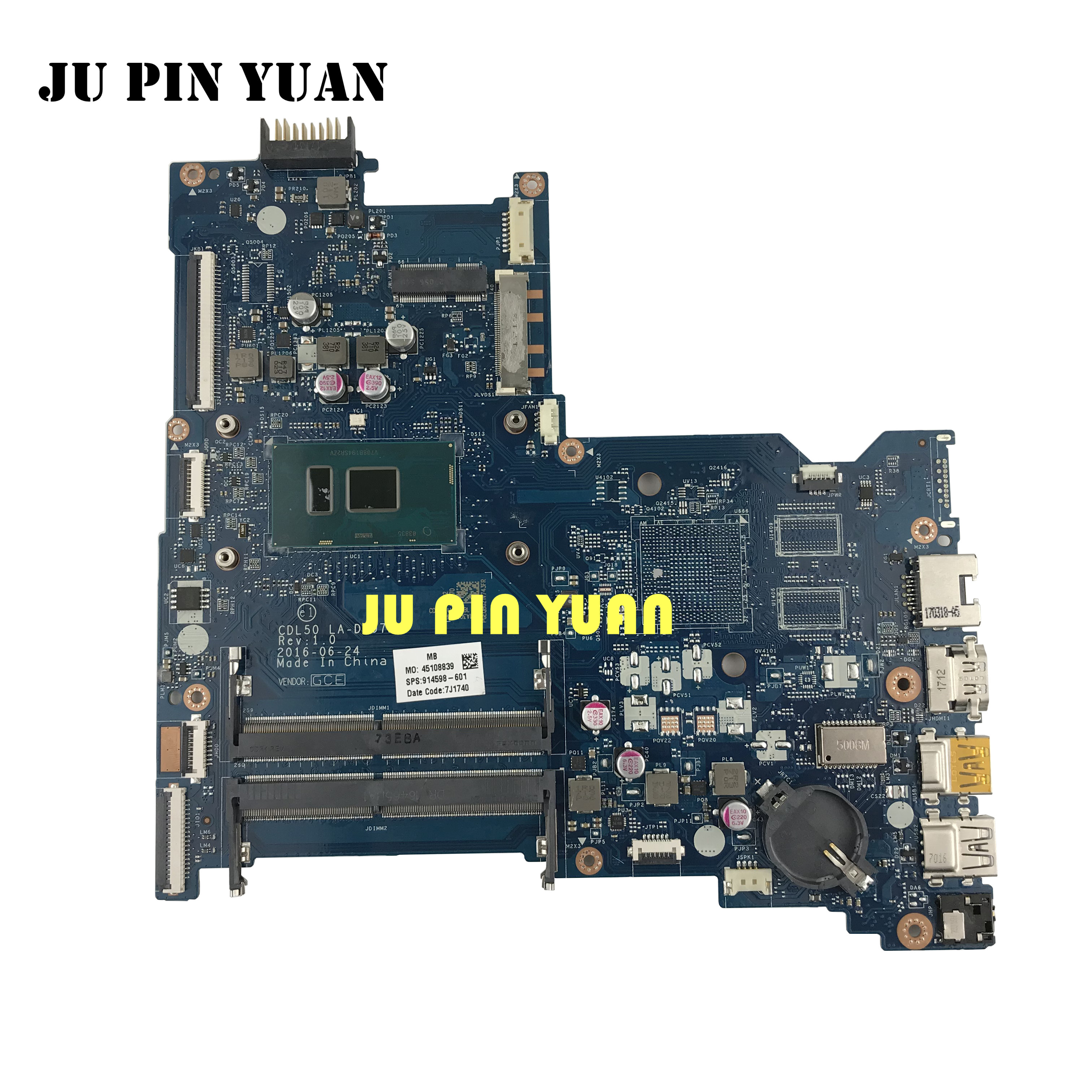 914598-601 914598-501 914598-001 LA-D707P For HP Notebook 15-AY 15-AC Series Laptop Motherboard With I7-7500U CPU
