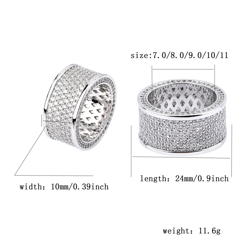 Image 5 - TOPGRILLZ Micro Pave Iced Out Bling AAA+ Cubic Zircon Round Rings Hip Hop Rock Jewelry Copper Material Ring For Man WomenRings   -