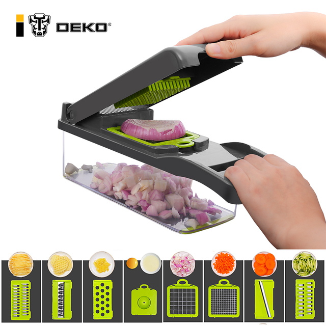 DEKO Vegetable Mandoline Cutter Fruit Slicer Multifunctional Potato Peeler Carrot Grater Kitchen Accessories with Drain Basket 1