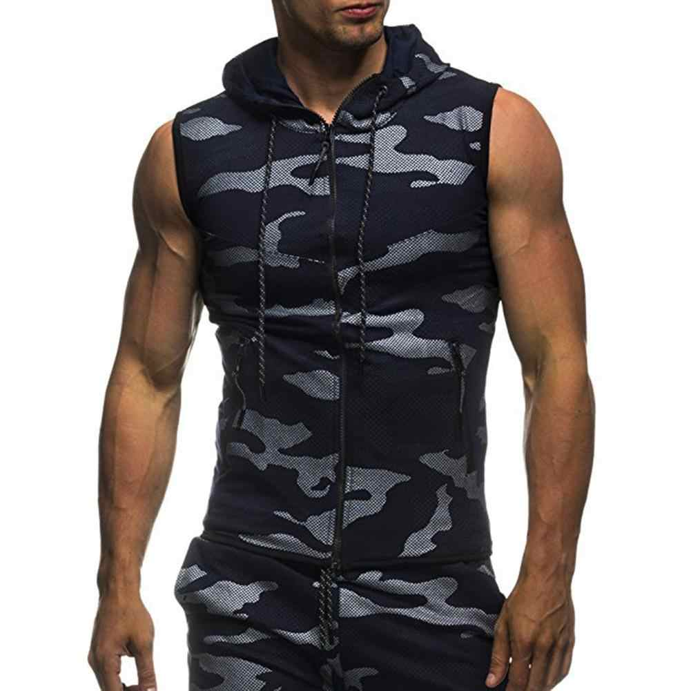 Zomer Mannen Gym Fitness Camouflage Mesh Hoodies Zip Up Mouwloze Hooded Tank Top