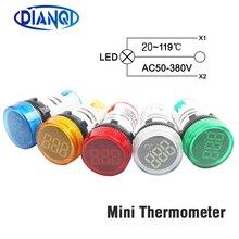 Светодиодный мини-термометр 22 мм 20-119 градусов Цельсия 50-380 В переменного тока синий красный белый желтый зеленый пилотный светильник измеритель температуры