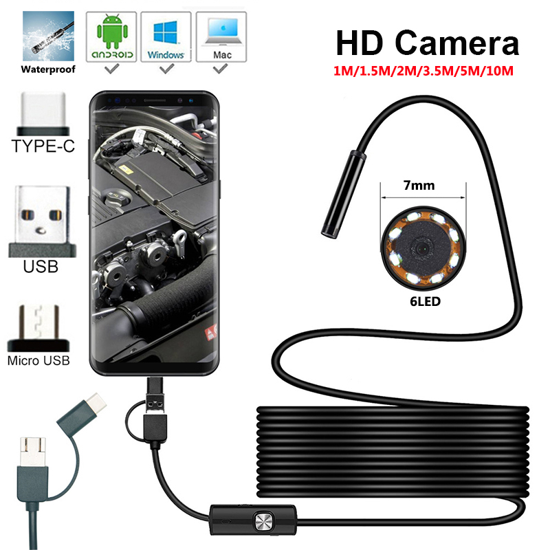 7 0mm Endoscope Camera HD Mini USB Endoscope 6LED Cable Waterproof Flexible Inspection Borescope for Android PC 1m 2m 5m 10m