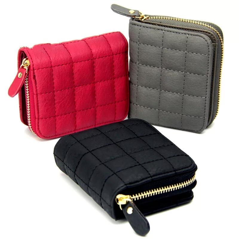 Women Short Wallets PU Leather Female Plaid Purses  Card Holder Wallet Fashion Woman Small Zipper Wallet  Coin Purse