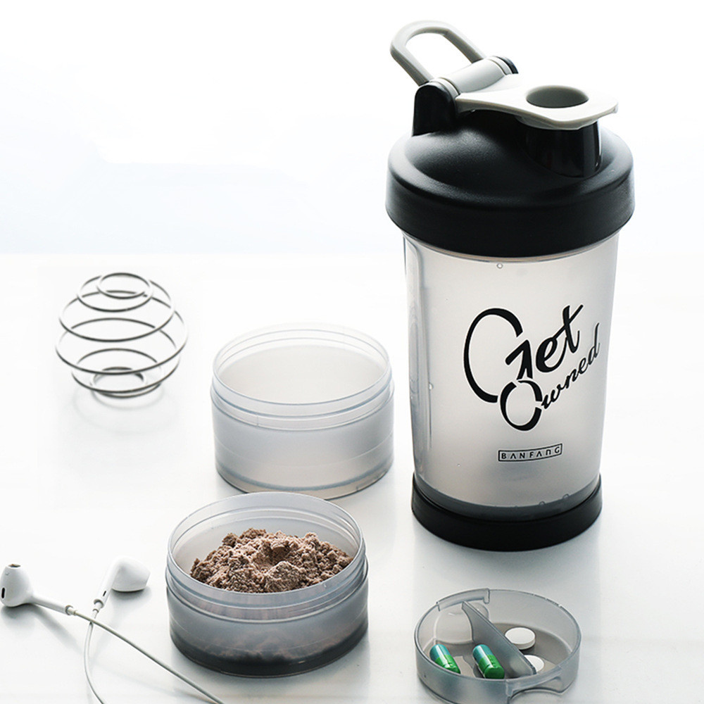 Protein Powder Shaker Milk Shake Plastic Cup Water Bottle Fitness Drink Tumblerful Hidro Flask Drinkware 500ML