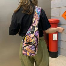 Unisex Fashion Printing Flower Outdoor Sport Sling Shoulder Canvas Bag Multifunction Crossbody Chest Pack
