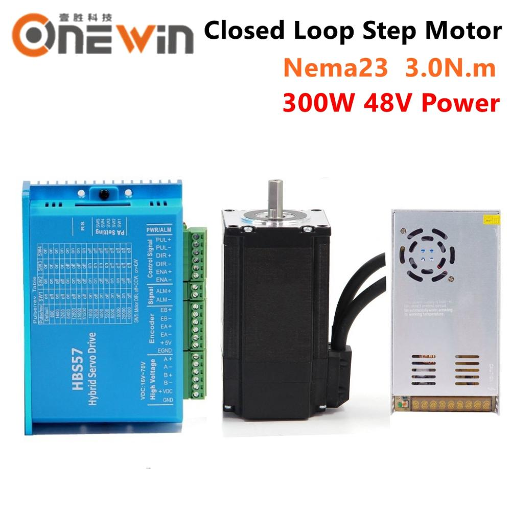 2 phase 3N.m Nema23 <font><b>57mm</b></font> closed loop stepper motor 57HBS30 and HBS57 Hybird step <font><b>driver</b></font> with 300W 48V switching power supply image