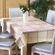 PVC Tablecloth Country-Style Washable Waterproof Rectangular Plain Restaurant