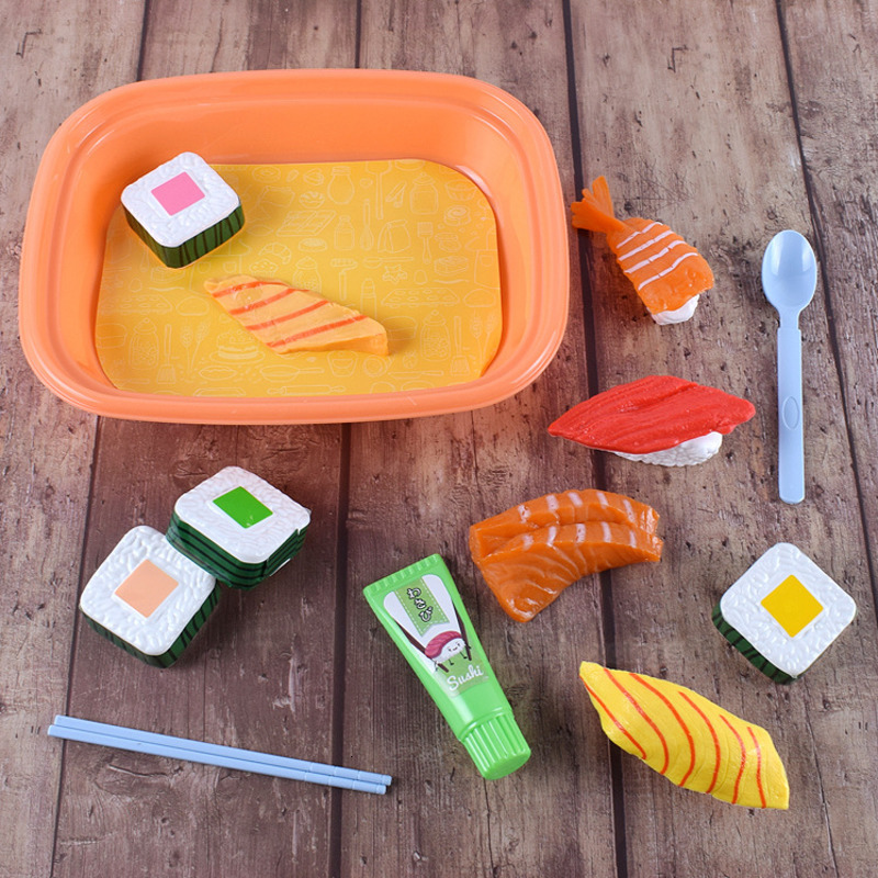Take-out Sushi Sashimi Children Kitchen DIY Suit Group Combine Funny Kids Tableware Amusement Toys Simulation House Play