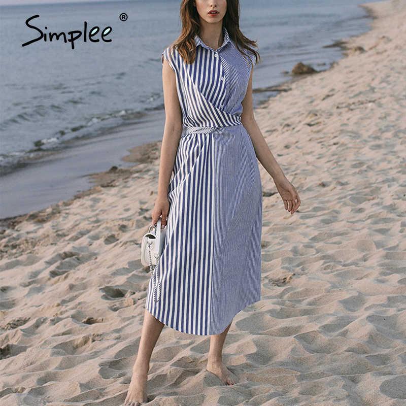 Simplee 패치 워크 스트라이프 여성 셔츠 드레스 여름 캐주얼 비치웨어 여성 드레스 우아한 버튼 보헤미안 숙녀 긴 드레스 2020