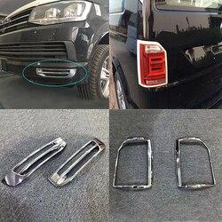 Dla VW Volkswagen Transporter (T6) Caravelle 17 18 Chrome przedni tylny reflektor przeciwmgielne wykończenie pokrywy lampy oświetleniowej Foglight zderzak odlewnictwo w Chromowane wykończenia od Samochody i motocykle na