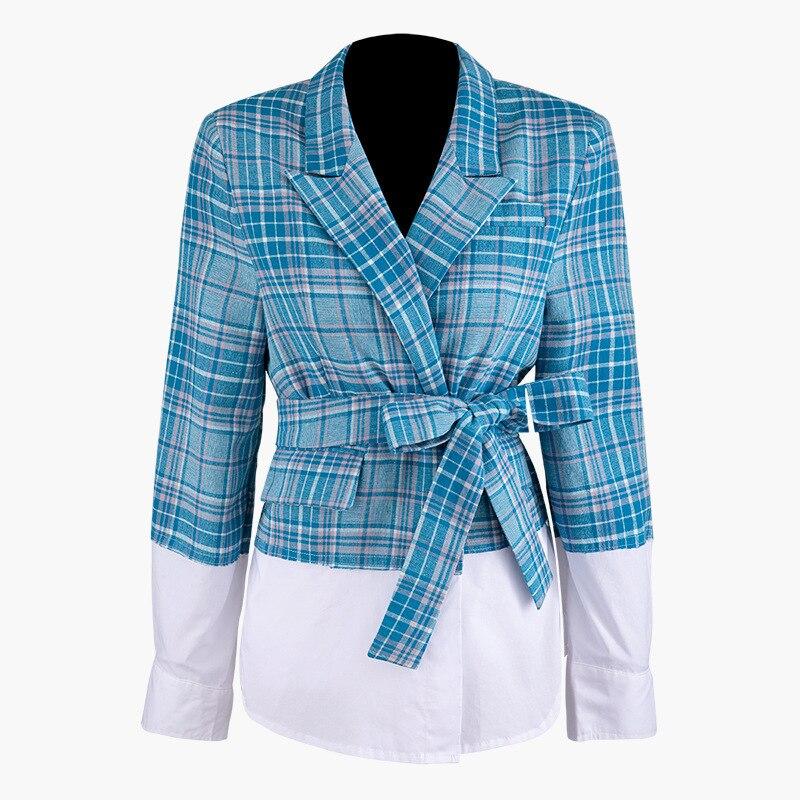 DEAT 2019 col rabattu complet dors-bien couleurs contrastées plissé pachwork chemise veste femme manteau court WJ01605L