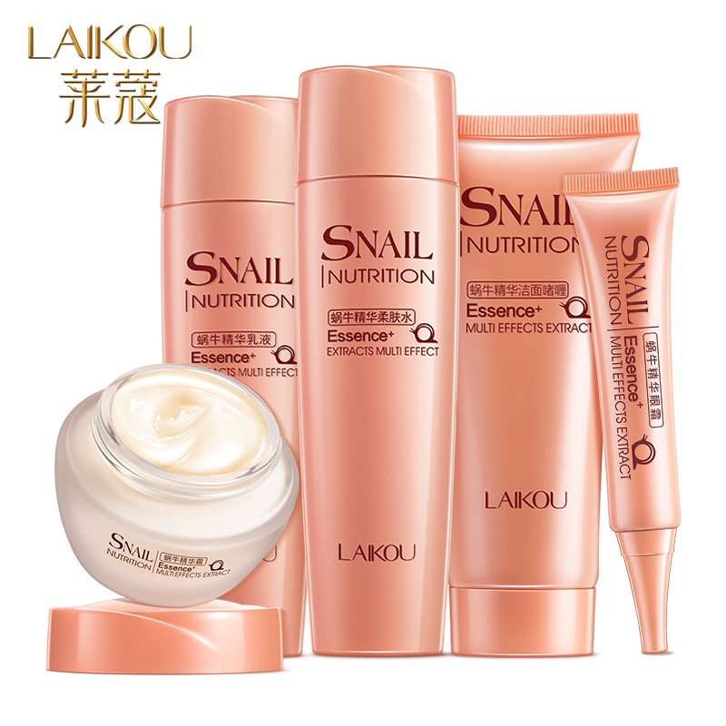 LAIKOU Skincare Sets 5PCS Snall Extract Essence Face Care Moisturizing Anti Aging Wrinkle Brighten Firming Skin Acne Treatment