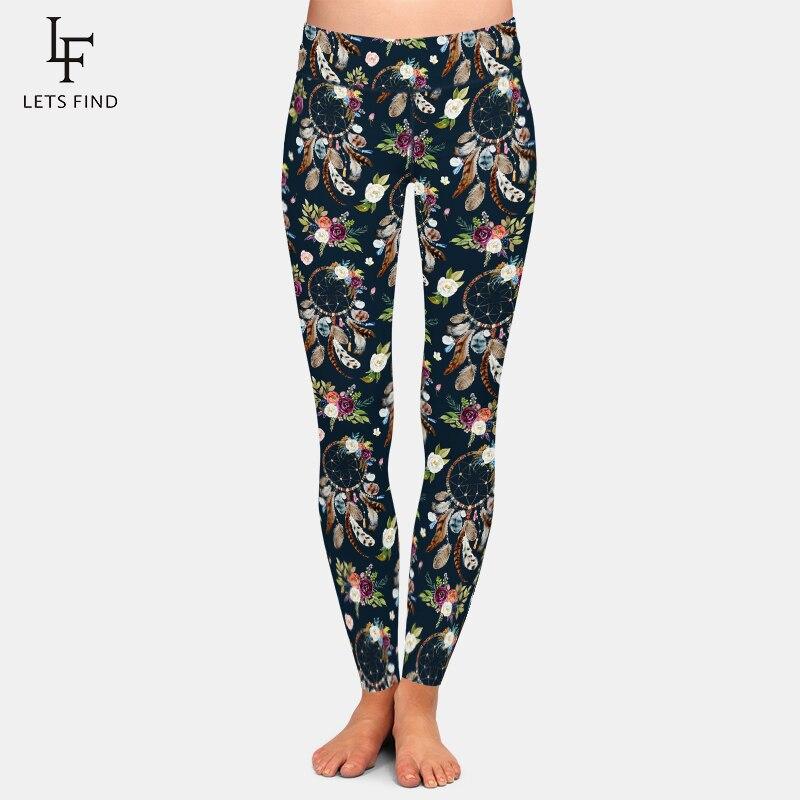 LETSFIND Gothic Dreamcatcher Comfortable Breathe Freely Milk Silk Print Women Stretch Pants High Waist Workout Leggings