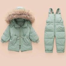 Winter Children's Clothing Sets Warm Baby Boy Ski Suits Snowsuits Real Fur Girl's Down Jackets Outerwear Coat+suspender Jumpsuit