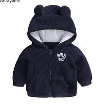 Jacket Coat Crocodile Boys Kids Winter Wool Bear NEW Fashion Autumn Velvet Embroidery