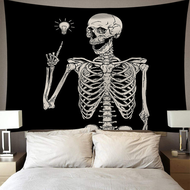 Skeleton Tapestry Wall Hanging Room Witchcraft Throw Rug Carpet Sun Tapestries Art Psychedelic Home Decoration Accessories 2