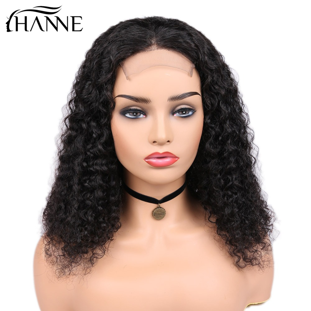 HANNE Hair 4 4 Lace Closure Human Hair Wigs Brazilian Curly Remy Hair Wig for Black Women 150 Density Glueless Wigs 1B Color in Human Hair Lace Wigs from Hair Extensions Wigs