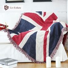 Liv-Esthete 100% Cotton British Flag Blanket Throw Tassel For Adult Sofa Bed Sleeping Bag Wrap Knitted Best Gift