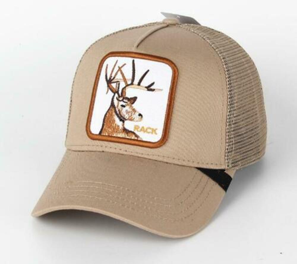 2019 New  Summer Trucker Cap Mesh Snapback Hip Hop Hats For Men Embroidery Baseball Cap Deer-khaki
