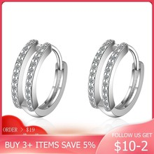 LByzHan 2020 New Authentic 925 Sterling Silver Zircon Hoop Earrings New Design For Women Party Jewelry Gift CME419