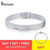 BUY 1 GET 1 FREE BAMOER Strand Bracelets Hot 925 Sterling Silver Metropolitan Style Women Fashion Bracelets Jewelry Gift SCX001